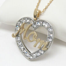 NEW CRYSTAL TWO TONE SILVER GOLD MOM HEART LOVE PENDANT NECKLACE MOTHER'S DAY