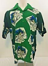 Joker Cards Ace Of Spades Button Up Hawaiian Short Sleeve Shirt Size L