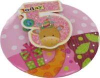 "6/"" JUMBO 3D PINK GLITTER 8TH BIRTHDAY BADGE CHILD GIRLS PARTY 8 TODAY MONKEY"