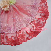 Embroidered Tulle Lace Edge Trim Ribbon Wedding Floral Tulle Fabric Crafts FL238