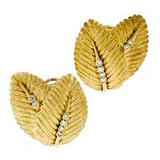 Large Vintage 18K Yellow Gold .60ctw Bezel Diamond Textured Double Leaf Earrings