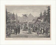 Schlußszene des Festspiels zur Bundesfeier der Schweiz Fahne Holzstich E 18371