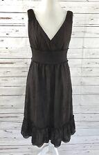 23d2e62555f Antonio Melani Sleeveless Dress Empire Waist Brown Embroidery Floral Size 10