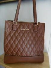 """Vera Bradley """"Nora"""" Cognac Brown Quilted Large Leather Shoulder Bag, Excellent"""
