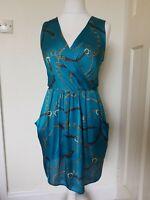 Closet Chain 90s Print Teal Silky Feel V Neck Dress Size 14