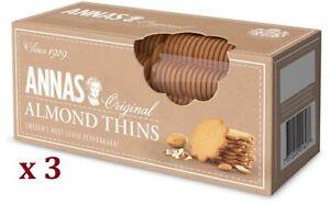 NEW Annas Original Almond Thins 150g x 3 (BBD 30/5/22)