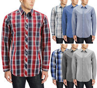 Men's Cotton Long Sleeve Collared Button Up Casual Classic Plaid Dress Shirt