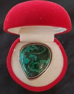 African Bullseye Azurite in Malachite Cabochon Sterling Silver Ring 11Grams Sz10