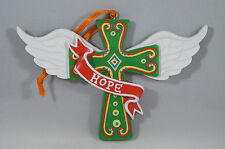 Green Hope Cross with Angel Wings Christmas Tree Ornament new holiday