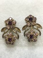 Vintage CORO CLIP EARRINGS Two Tone PINK Rhinestone Gold Tone Flower Leaf