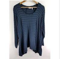 LOGO Lori Goldstein Womens Shirt Blue Navy Blue Stripes Long Sleeve Plus Size 1X
