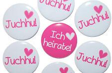 10 x JGA Buttons groß 50mm Junggesellinnenabschied Feier  Hochzeit Herz pink