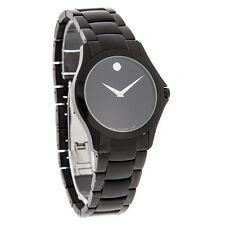 Movado Military Mens Black Dial Swiss Quartz Dress Watch 0606486