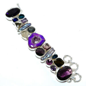 """Drusy & Amethyst- Gemstone 925 Sterling Silver Jewelry Bracelet 7.99"""" W2453"""