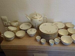 Thomas -Rosenthal- Kaffee Service elfenbeinfarben mit Goldrand 10 Pers. 43 tlg.