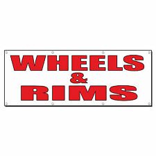 WHEELS & RIMS Auto Body Shop Car Repair Banner Sign 4 ft x 2 ft /w 4 Grommets
