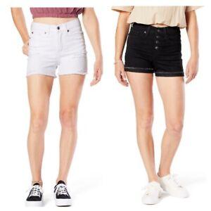 Levi Strauss 2PACK 15/W32 High Rise Shortie Shorts White & Black Denim CUTE *NWT