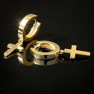 10K Yellow Gold Over Hanging Cross Dangle Hoop Men's Earrings For Men's Jewelry