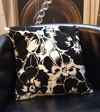 White And Black Floral Design Evans Lichfield Cushion Cover