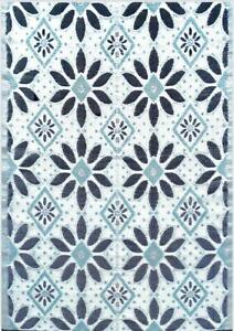 6'x9' Outdoor Rug Patio RV Rug Mat Light Blue, Black, Grey 331