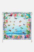 Johnny Was Seaview Scarf Blue Flower Silk Butterfly Ocean Hobo Floral Tassel New