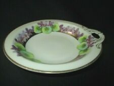 PURPLE VIOLETS HP SIGNED BY ARTIST ' LORRAND ' BAVARIA RING HANDLE SAUCE BOWL