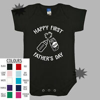 HAPPY FIRST FATHERS DAY Funny Baby One Piece BabyGrow Baby Romper Dad Jokes Beer
