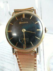 Black Dial Vintage 1956 Men's Bulova President 10k RGP Mechanical Watch Runs