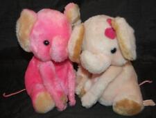 "Hot Pink Brown Elephants Vintage Tubby Love Boy Girl Pair Russ Plush 7"" Toy Cute"