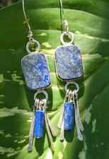 Lapis Lazuli Gemstone Hand Made Sterling Silver One-off Earrings .A2e