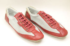 POLLINI men shoes sz 9 Europe 43 red leather gray canvas S6653