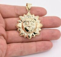 "2 1/4"" Sun Face Diamond Cut Plain Charm Pendant Real 10K ALL Yellow Gold"