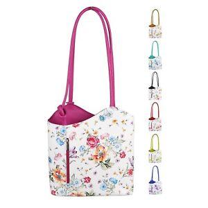 ITAL DAMEN LEDER TASCHE RUCKSACK Schultertasche Blumen Shopper Umhängetasche bag