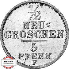 SACHSEN AKS 108  1/2 Neugroschen- 5 Pfenn. Scheidemünze von 1852 F in VZ  945246