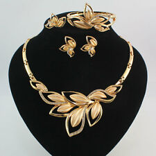 Fashion Women 18K Gold Plated Crystal Leaves Necklace Wedding Party Jewelry Set