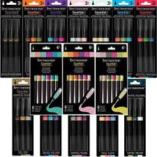 Spectrum Noir Sparkle Pens, Flexible Fine Brush Glitter Markers - 3 + 6 Pen Sets