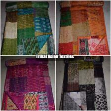 Silk Quilt Indian Ikat Patola Kantha Patchwork Blanket Handmade Bed Spread