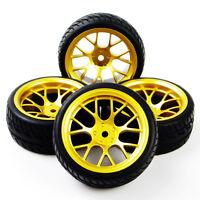 4Pcs caoutchouc pneus jantes Set pour HSP Racing RC 01:10 plat sur route voiture