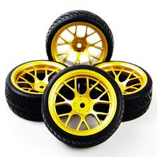 4Pcs Rubber Tires Wheel Rims Set For HSP Racing HPI RC 1:10 Flat On Road Car