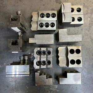 Schunk EWB-TS 210 Lathe Quick Change Chuck Jaw Bases w/ (4) Sets of Jaws & Bolts