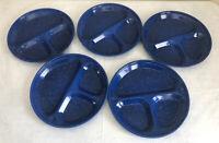 "5 Speckled Blue Divided Enamel Ware Metal Dinner Plates Camping Dinnerware 11.5"""