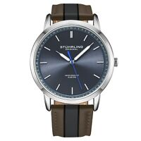 Stuhrling Men's 3992 Miyota Japan Quartz 44mm Classic Ultra Slim Leather Watch