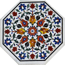 "18""x18"" Octagon Design Marble Inlay Table Top"