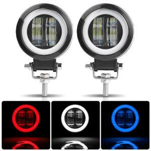 3 in Round LED Work Light Bar Pods Offroad Fog w/Angel Eye Halo Ring Driving ATV