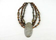 Vintage Costume Jewelry, Statement Necklace, African Style, Wood Beads and Stone