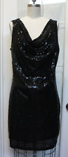 MICHAEL KORS BLACK COWL NECK SEQUIN COCKTAIL DRESS sz L