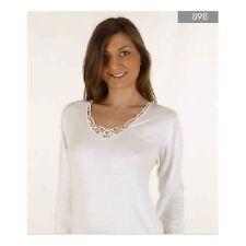 Maglia donna Intissimopiu manica lunga lana cotone bordo pizzo art 898 Tg XXL 7
