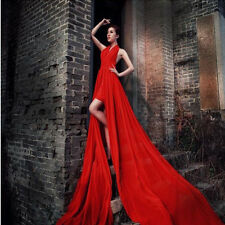 Red Halter Chiffon Backless Train Evening Dresses Prom Formal Gown Wedding Photo