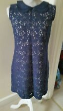 OASIS NAVY BLUE LACE SALMON LINED SHIFT DRESS BNWT SIZE 8/34