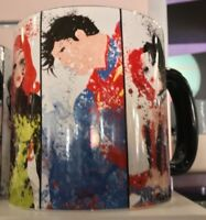 Six Flags Magic Mountain Superman Poison Ivy Harley Quinn Joker Splatter Mug New